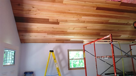 Cedar Ceiling getting installed in Cabin 1